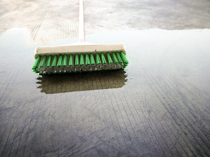how to clean brick  floor - brush