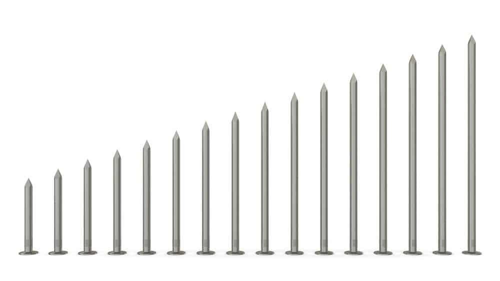 Size range of nails